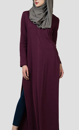 lt204-maroon-basic-double-side-slit-long-jersey-abaya-maroonfrontthumbnail